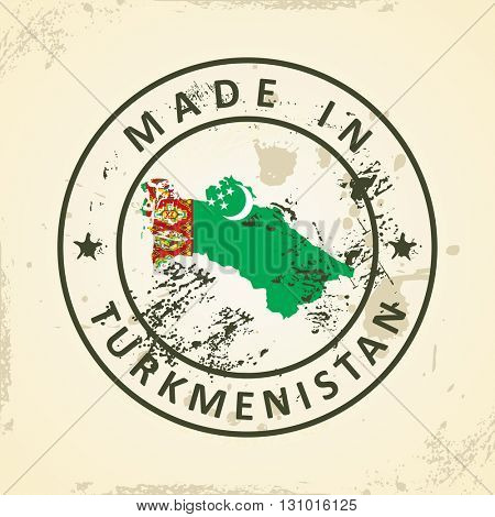Grunge stamp with map flag of Turkmenistan - vector illustration