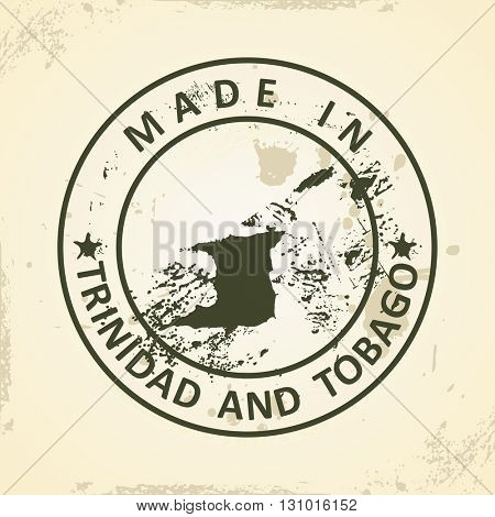 Grunge stamp with map of Trinidad and Tobago - vector illustration