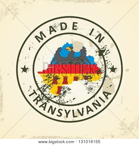 Grunge stamp with map flag of Transylvania - vector illustration
