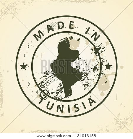 Grunge stamp with map of Tunisia - vector illustration