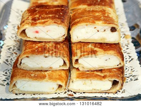 Hungarian Specialty Stuffed Strudel With Curd Cheese And Vanilla