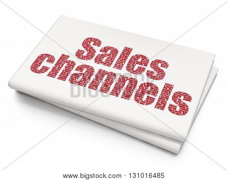 Marketing concept: Pixelated red text Sales Channels on Blank Newspaper background, 3D rendering