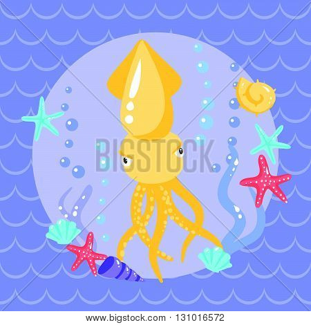 Cute Cuttle With Seasters And Shells