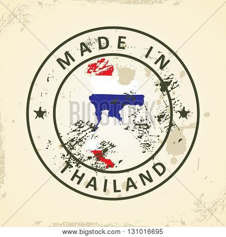 Grunge stamp with map flag of Thailand - vector illustration