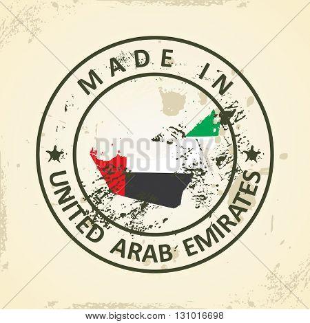 Grunge stamp with map flag of United Arab Emirates - vector illustration