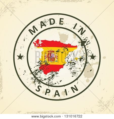 Grunge stamp with map flag of Spain - vector illustration