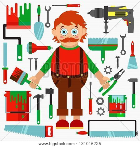 Repair man with construction tools vector set