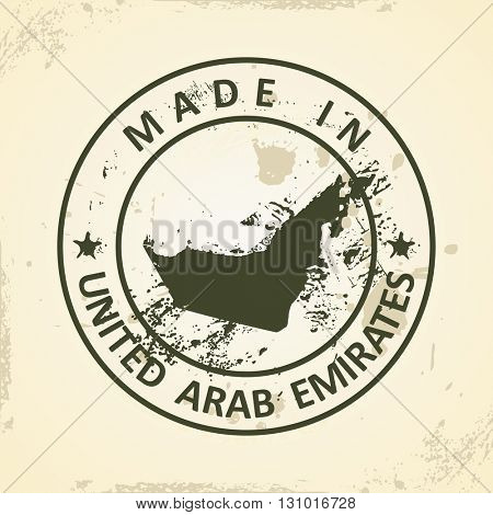 Grunge stamp with map of United Arab Emirates - vector illustration
