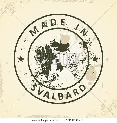 Grunge stamp with map of Svalbard - vector illustration