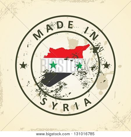 Grunge stamp with map flag of Syria - vector illustration