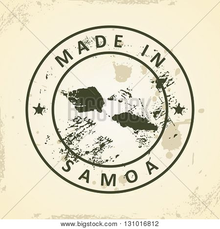 Grunge stamp with map of Samoa - vector illustration