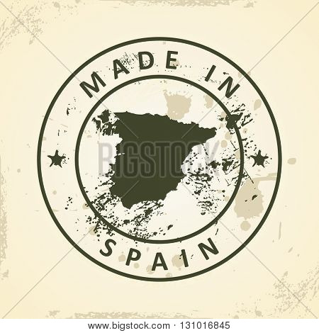 Grunge stamp with map of Spain - vector illustration