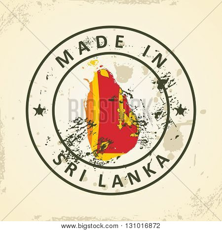 Grunge stamp with map flag of Sri Lanka - vector illustration