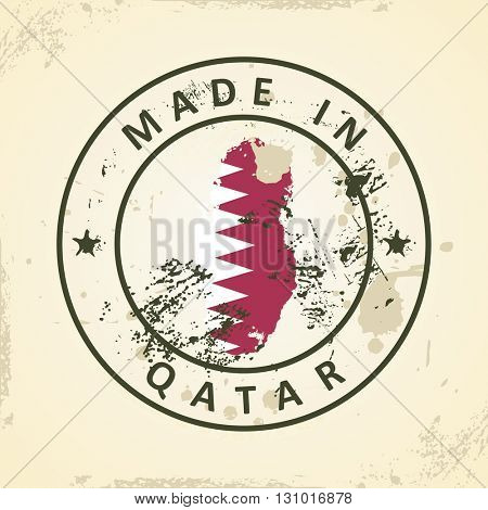 Grunge stamp with map flag of Qatar - vector illustration