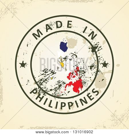 Grunge stamp with map flag of Philippines - vector illustration