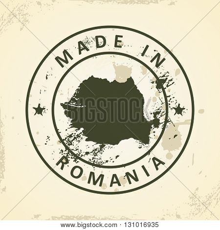 Grunge stamp with map of Romania - vector illustration