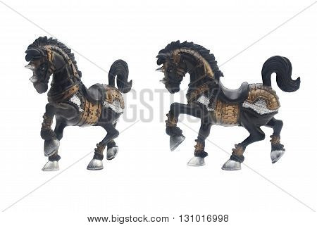 Isolated horse toy side and angle view photo .