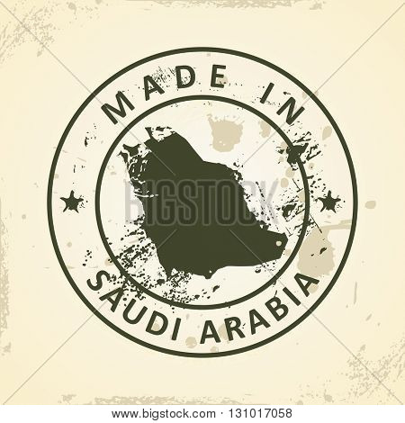 Grunge stamp with map of Saudi Arabia - vector illustration