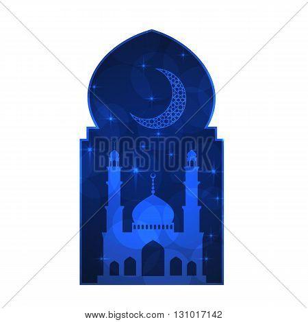 Ramadan greeting card on white background. Vector illustration.