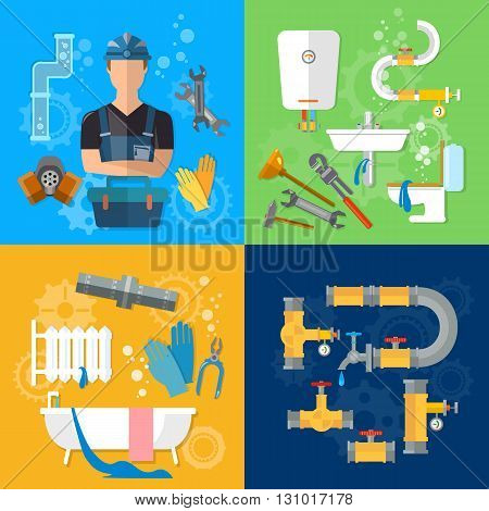 Professional plumber plumbing repair service plumber different tools and accessories vector illustration