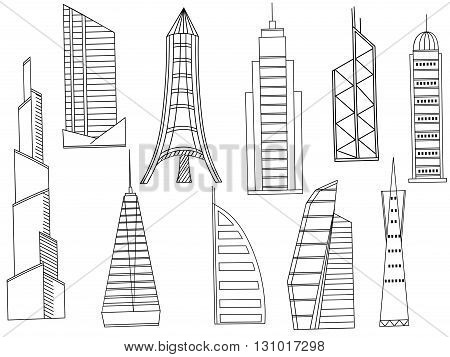 Vector line art Doodle set of cartoon characters and objects tall buildings. Tower blocks coloring book