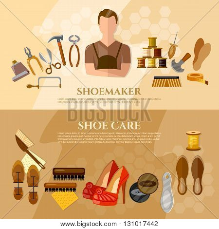 Shoemaker banners shoe repair shoe care professional equipment cobbler vector illustration