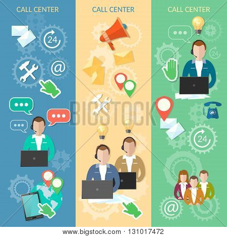 Call center banner technical support helpline operator with headphones vector