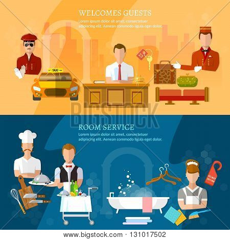 Hotel service banners hotel staff reception reservation cleaning concierge taxi driver vector illustration