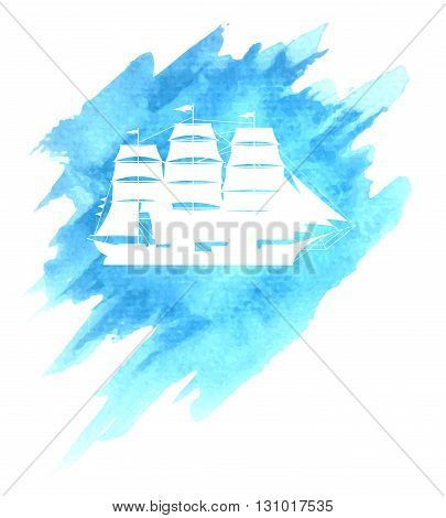 Old sail ship on blue watercolor sea or ocean background