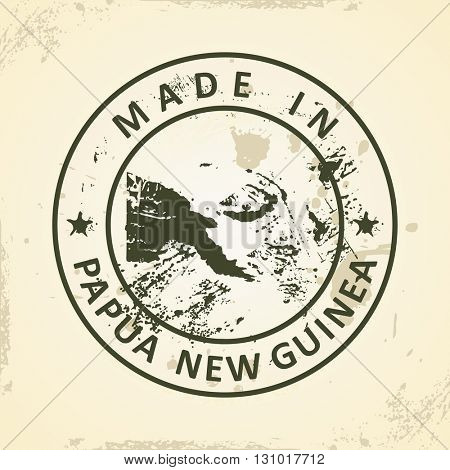 Grunge stamp with map of Papua New Guinea - vector illustration