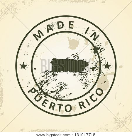 Grunge stamp with map of Puerto Rico - vector illustration