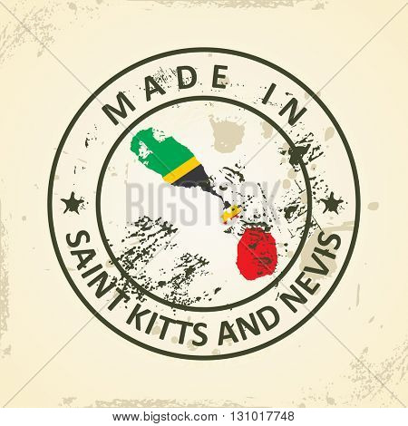 Grunge stamp with map flag of Saint Kitts and Nevis - vector illustration