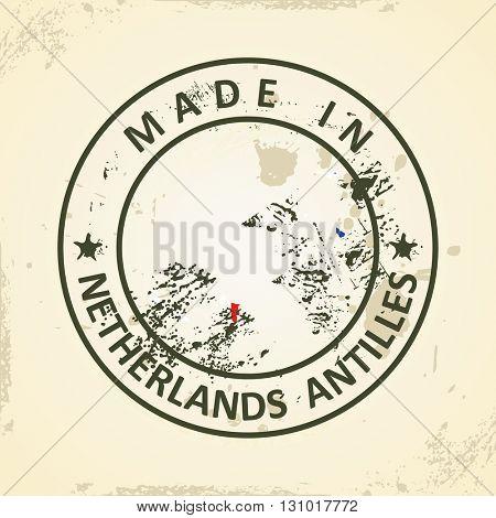 Grunge stamp with map flag of Netherlands Antilles - vector illustration