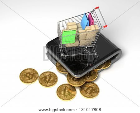 Concept Of Digital Wallet With Bitcoins And Shopping Cart. 3D Illustration.