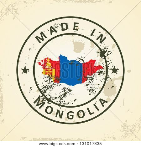 Grunge stamp with map flag of Mongolia - vector illustration