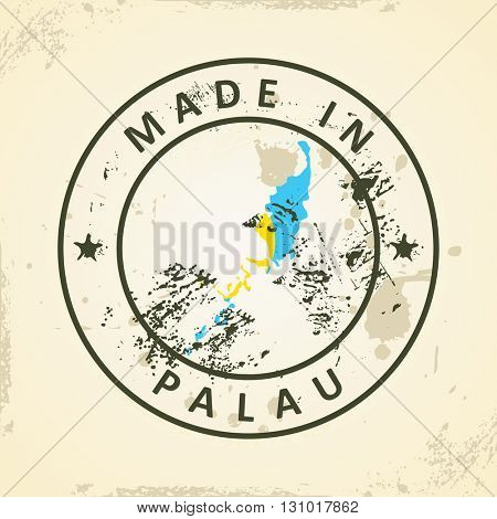 Grunge stamp with map flag of Palau - vector illustration