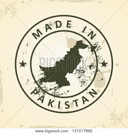 Grunge stamp with map of Pakistan - vector illustration