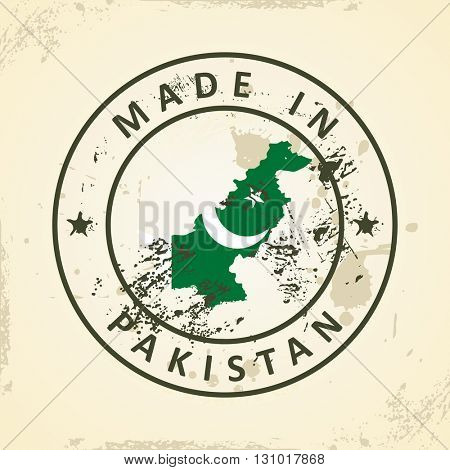 Grunge stamp with map flag of Pakistan - vector illustration