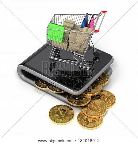 Virtual Wallet With Bitcoins And Shopping Cart. 3D Illustration.
