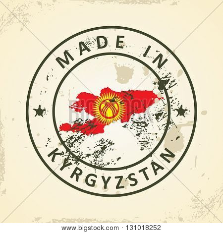 Grunge stamp with map flag of Kyrgyzstan - vector illustration