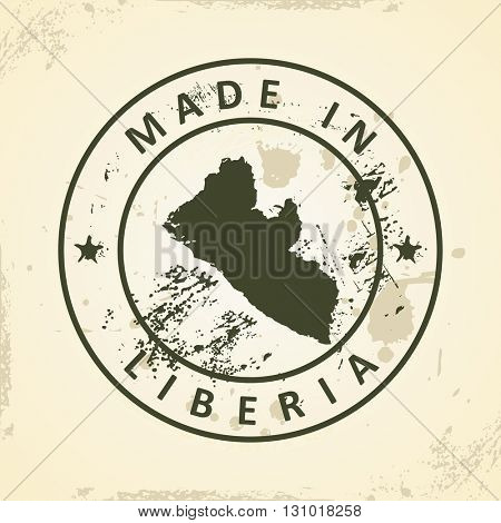 Grunge stamp with map of Liberia - vector illustration