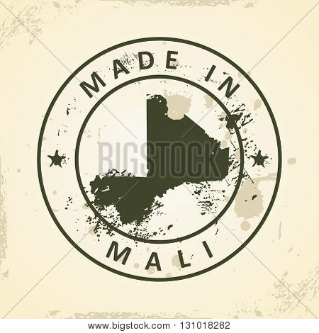 Grunge stamp with map of Mali - vector illustration
