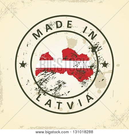 Grunge stamp with map flag of Latvia - vector illustration