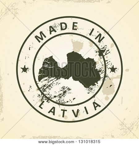 Grunge stamp with map of Latvia - vector illustration