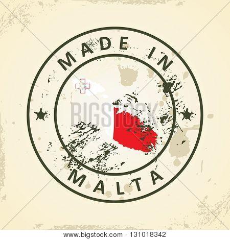 Grunge stamp with map flag of Malta - vector illustration