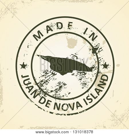 Grunge stamp with map of Juan de Nova Island - vector illustration
