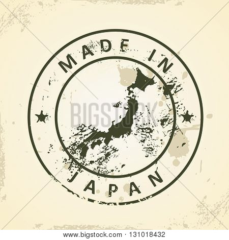 Grunge stamp with map of Japan - vector illustration