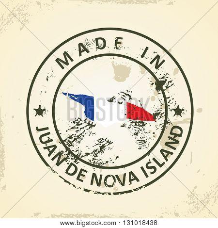 Grunge stamp with map flag of Juan de Nova Island - vector illustration