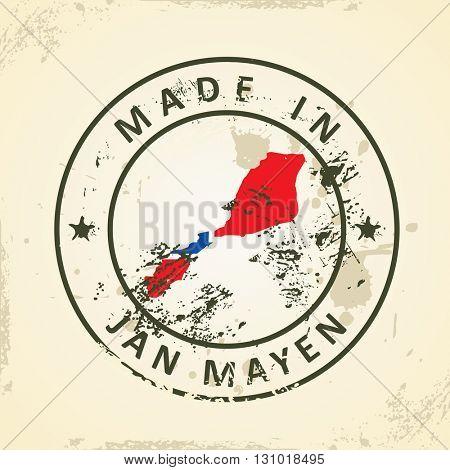 Grunge stamp with map flag of Jan Mayen - vector illustration