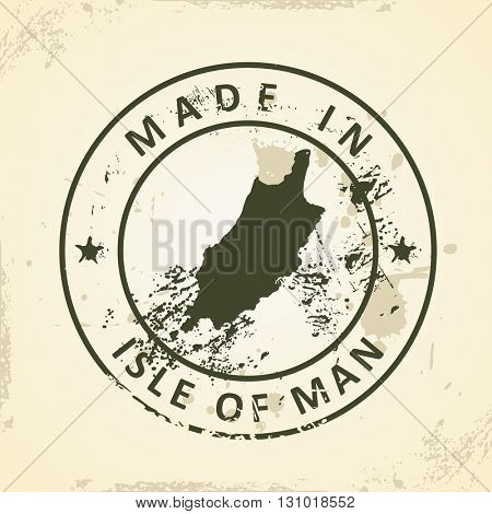 Grunge stamp with map of Isle of Man - vector illustration